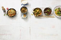 Four spicy Asian dishes