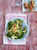 A spinach and celery salad with apples and peanut sauce - 'Tiger in the Jungle'