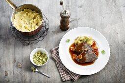 Rhineland braised beef with mashed potatoes