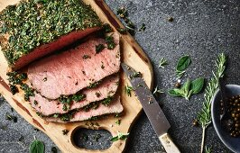 Beef pastrami with a herb crust