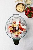 Ingredients of strawberry banana smoothie