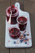 Homemade blueberry jam with cloves and red pepper
