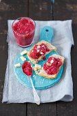 Homemade raspberry jam with white chocolate and almonds