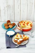 Chicken balls with potato fritatta and garlic sauce