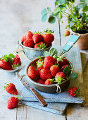Fresh strawberries in a sieve and in bowls
