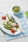 Monkfish fillet with lime, coriander and avocado dip (Spain)