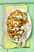 Green lentil salad with avocado, feta and pan-fried carrots