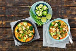 Red curry with chicken and broccoli