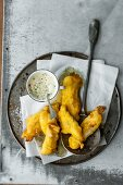 Fried fish with homemade remoulade