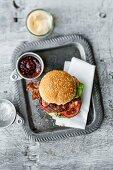 Big BLT BBQ burger(a bacon, lettuce, and tomato burger)