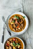 Creamy goulash with mushrooms and peppers