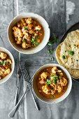 Veggie vindaloo curry with garlic chapattis