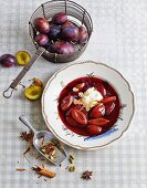 Plum soup with marzipan and marscapone cream