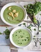 Two different kinds of herb soup: with deep-fried nettle leaves and with spinach