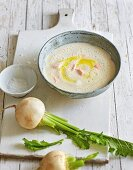 Turnip soup with saffron and salmon