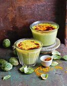 Brussels sprout soup with creamy curry topping