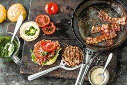 Ingredients for pork burgers