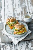 Sandwiches with shrimps and smoked salmon
