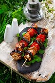 Grilled chicken skewers with aubergine and tomato
