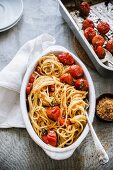 Spaghettini with baked balsamic tomatoes and breadcrumbs