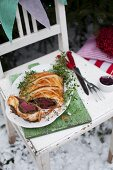 Beef Wellington (Puff pastry, mushrooms and sirloin)
