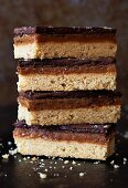 Chocolate and caramel shortbread with salt, stacked