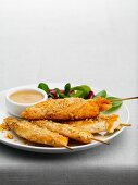 Chicken skewers with a peanut dip
