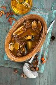 Mussel soup with potatoes and mushrooms