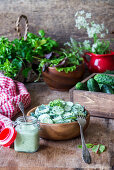 Cucumber salad with yogurt and herbs