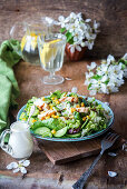 Salad with cucumber, celery, chicken and corn