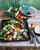 Tomato, mozzarella and pesto salad