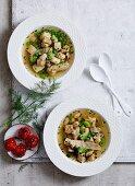 Roasted Celeriac, Parsnips, Pea and Bean Soup