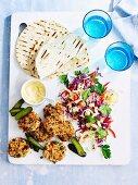 Turkey rissoles with coleslaw,