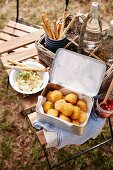 Crispy arancini balls and Honey, pear and gorgonzola dip
