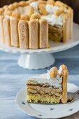 Malakoff torte, sliced