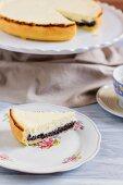 Poppy cheesecake, sliced