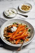 Oven roasted carrots with couscous, mint, pistachios, cranberries and a lime and yogurt dip