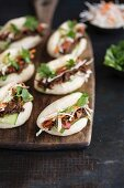 Gua Bao burgers with pulled pork and hoisin sauce