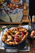 Puff pastry with red wine infused apples and rosemary (France)