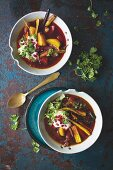 Two bowls of hearty vegetable broth (for the immune system)