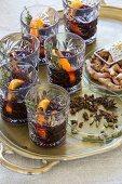 Mulled wine with orange peel