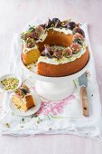 Polenta cake with cream fraiche, figs and honey