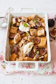 French toast bake with figs, caramel and rooibos tea