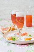 Grapefruit Mimosa floats