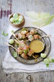 Parma ham and melon skewers with a honey and mustard dip