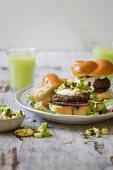 Lamb burgers with pickled zucchini and Greek yogurt