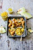 Tempura prawns with spicy mango and melon chutney