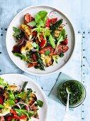 Chorizo-Salat mit grünem Spargel und Chimichurri