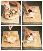 Carving a roast chicken