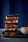 Chocolate, soure-cherry and oat slice